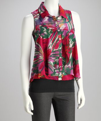 Fuchsia Floral Hi-Low Sleeveless Top