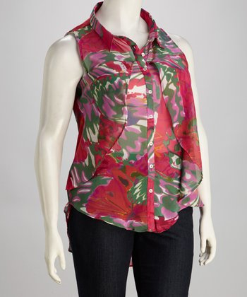 Fuchsia Butterfly Plus-Size Button-Up Top