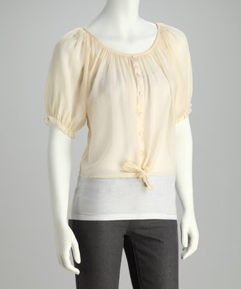 Ivory Button-Up Peasant Top