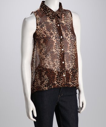 Brown Leopard Lace Sleeveless Hi-Low Button-Up