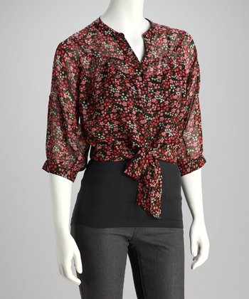 Ivory & Red Floral Tie-Front Button-Up