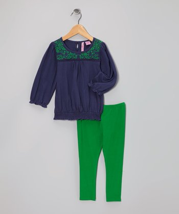 Navy Flower Peasant Top & Green Leggings - Toddler