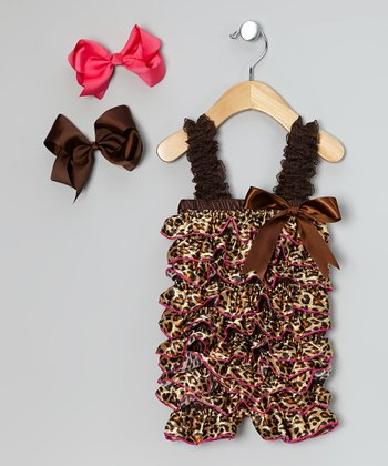 Brown & Black Leopard Ruffle Romper & Bow Clip Set - Toddler