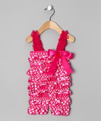Hot Pink Polka Dot Ruffle Romper - Infant & Toddler