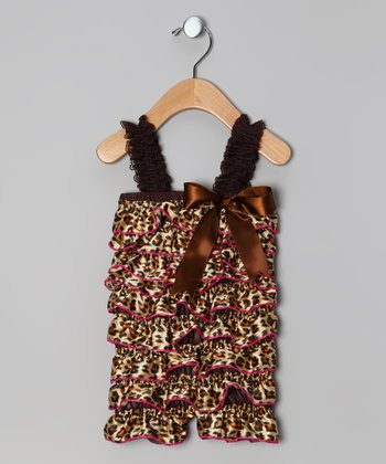 Brown & Pink Leopard Ruffle Romper - Toddler
