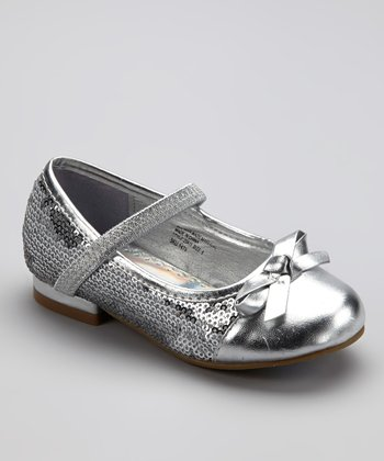 Silver Sequin Metallic Flat