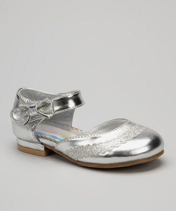 Silver Metallic Sparkle Bow Mary Jane