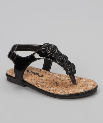 Black Patent Rose Sandal