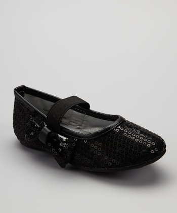 Black Sequin Bow Flat