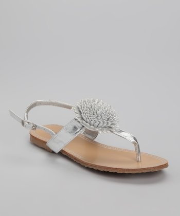 Silver Metal Bloom Sandal