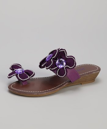 Purple Rhinestone Blossom Wedge Sandal