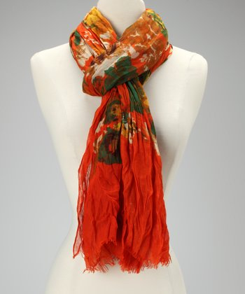 Orange Vintage Flower Scarf