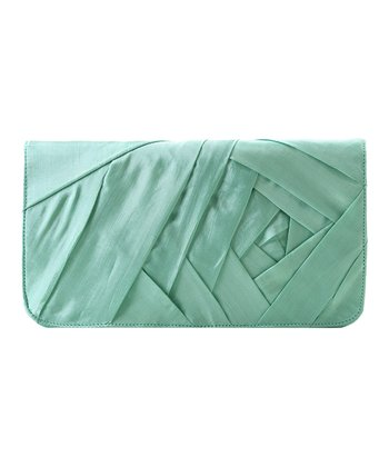 Mint Origami Silk Clutch