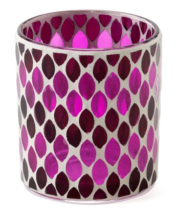 Pink & Black Mosaic Candleholder - Set of Four