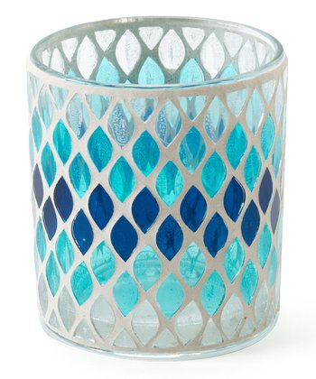 Navy & Turquoise Mosaic Candleholder - Set of Four