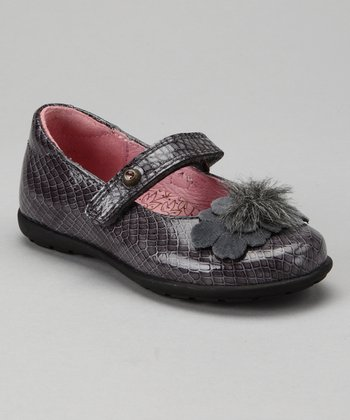 Pablosky Gray Snakeskin Patent Mary Jane - Toddler & Girls