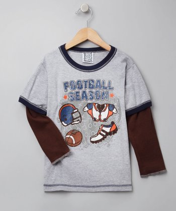Gray Football Layered Tee - Toddler & Boys