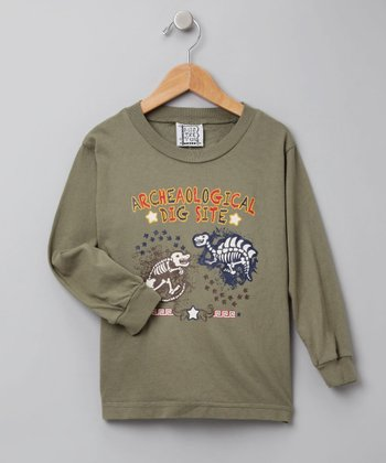 Olive Green Long-Sleeve Dinosaur Tee - Toddler & Boys