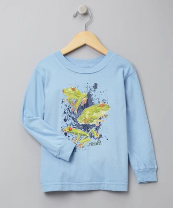 Light Blue Long-Sleeve Frog Tee - Toddler & Boys