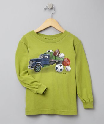 Green Long-Sleeve Truck Tee - Toddler & Boys