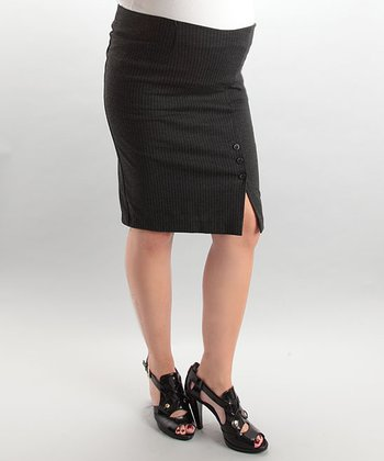 Gray Pinstripe Pencil Skirt