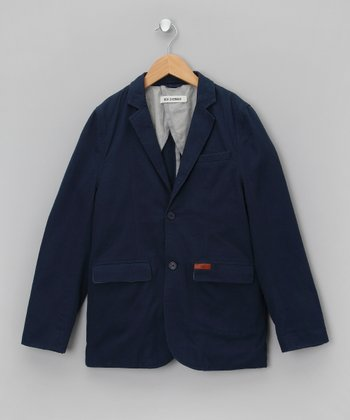 Bleu Double-Pocket Blazer - Boys