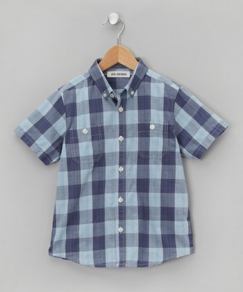 Bleu Checkerboard Button-Up - Boys