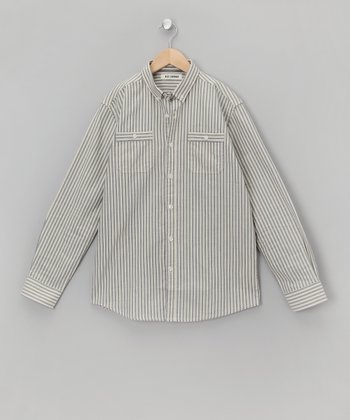 Bleu Stripe Long-Sleeve Button-Up - Boys