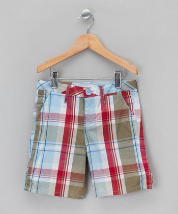 Blue & Rouge Plaid Shorts - Boys