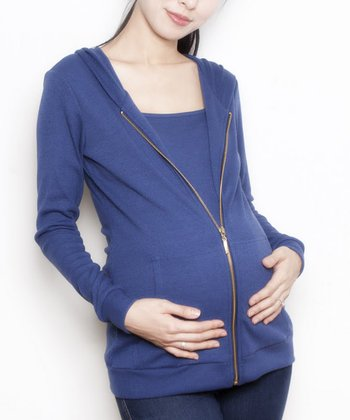 Blue Zoe Maternity & Nursing Zip-Up Hoodie - Women & Plus