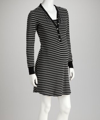 Black Stripe Maternity & Nursing Nightgown - Women