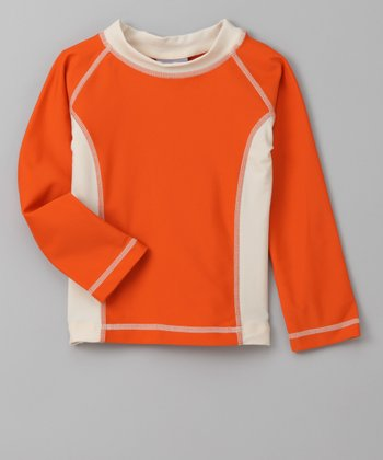 Orange & White Long-Sleeve Rashguard - Infant, Toddler & Girls