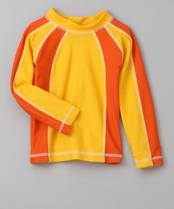 Orange & Yellow Long-Sleeve Rashguard - Infant & Toddler