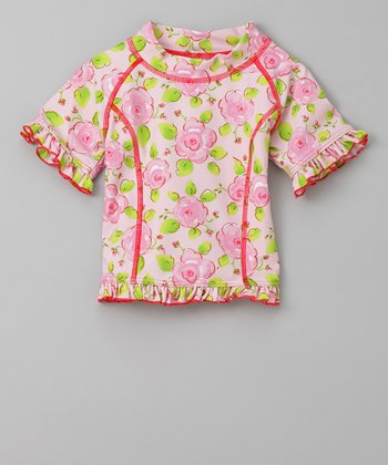 Pink Flower Parade Short-Sleeve Rashguard - Infant & Toddler