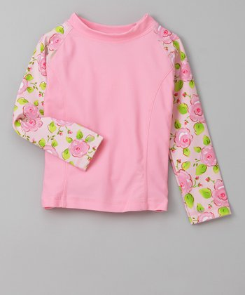 Pink Flower Parade Long-Sleeve Rashguard - Infant, Toddler & Girls