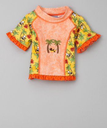 Orange Monkey Business Short-Sleeve Panel Rashguard - Infant & Toddler
