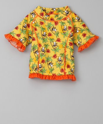 Orange Monkey Business Short-Sleeve Rashguard - Infant & Toddler