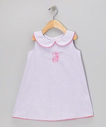 Lavender Stripe Initial A-Line Dress - Infant, Toddler & Girls