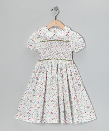 Periwinkle Floral Smocked Dress - Toddler & Girls