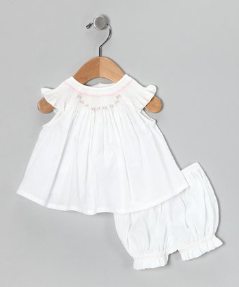 Emily Lacey White Rosebud Angel-Sleeve Dress & Bloomers - Infant
