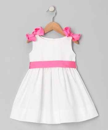 White & Hot Pink Bow Sash Dress - Girls