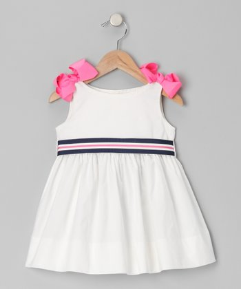 White & Pink A-Line Dress - Infant, Toddler & Girls