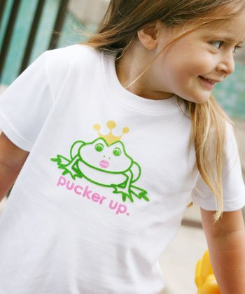 White 'Pucker Up' Tee - Toddler & Kids