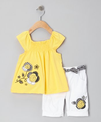 Yellow Swing Top & White Belted Bermuda Shorts - Infant & Girls