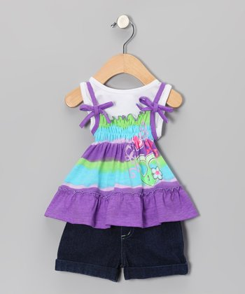 Purple Floral Layered Top & Denim Shorts - Infant