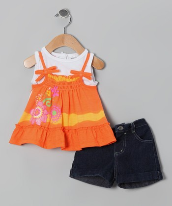 Orange Flower Layered Tunic & Denim Shorts - Infant