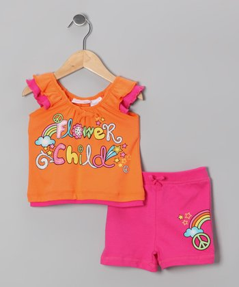 Orange 'Flower Child' Top & Shorts - Toddler