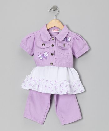 Lavender Denim Jacket Set - Girls