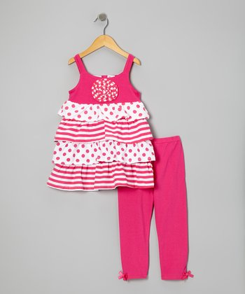 Bright Pink Polka Dot Tiered Tunic & Leggings - Girls