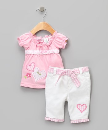 Pink & White Heart Peasant Top & Pants - Girls